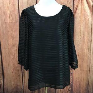 NWOT H&M Black Satin Striped Top